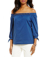 Sigrid Olsen Signature Off The Shoulder Woven Blouse