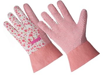 HANDS ONTM CT7611-S/M, Ladies Premium Poly-Cotton Blend PVC Dotted Glove with Band Top Cuff