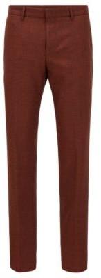 HUGO BOSS Slim Fit Pants In Washable Melange Virgin Wool - Light Orange