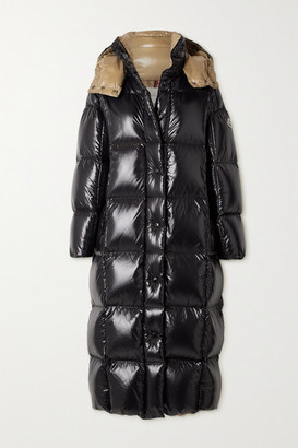 Moncler Parnaiba Hooded Quilted Glossed-shell Down Coat - Black