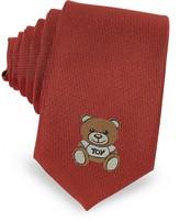 Moschino Teddy Bear Solid Silk Jacquard Narrow Tie