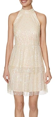 Laundry by Shelli Segal Shimmer Halter Mini Dress