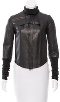 Helmut Lang Rib Knit-Trimmed Leather Jacket