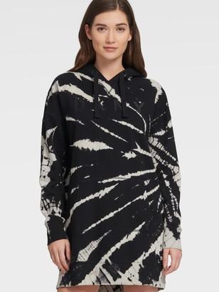 DKNY Women's Tie Dye Long Sleeve Embroidered Logo Sneaker Dress - Black - Size XL
