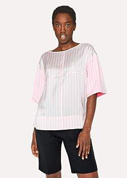 Paul Smith Women's Pink And White Stripe Short-Sleeve Silk Top