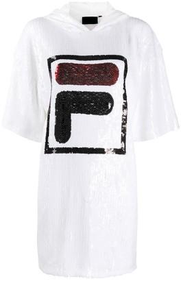 Fila Sequinned Logo Hoodie Dress