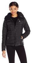 U.S. Polo Assn. Women's Puffer Fashion Jacket with Faux Fur Collar