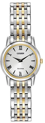 Citizen Watch Stiletto Women's Quartz Watch with White Dial Analogue Display and Two Tone Stainless Steel Bracelet EG3048-58A