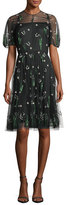 Valentino Garavani Lily of the Valley Embroidered Tulle Dress