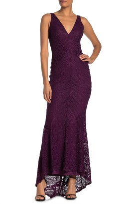 Jump Glitter Lace V-Neck Gown