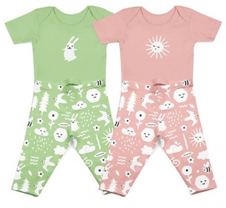 Hello Bello Baby Boy or Girl Gender Neutral Organic Short Sleeve Bodysuits & Pants Outfit Set, 4-Piece