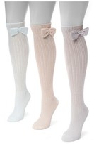 Muk Luks Women's 3 Pair Pack Pointelle Bow Knee High Socks - Multicolor One Size