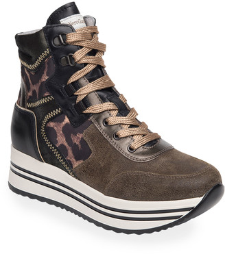 Nero Giardini Mixed-Media High-Top Fashion Sneakers
