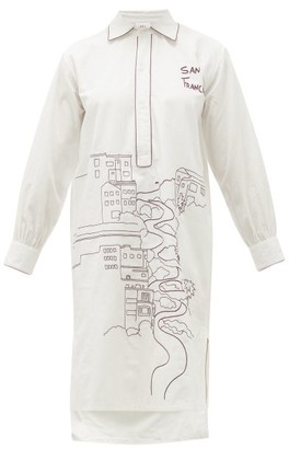Kilometre Paris - San Francisco-embroidered Cotton Pyjama Shirt - White Multi