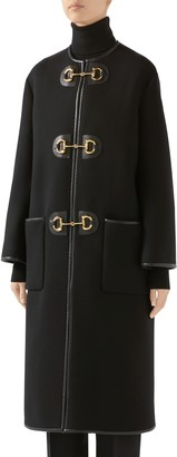 Gucci Horsebit Toggle Leather Trim Wool Blend Military Coat