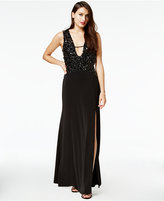 As U Wish Juniors' Beaded Plunge Gown