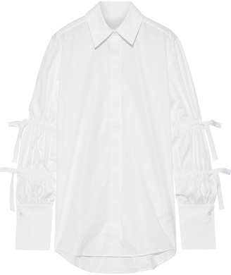 Victoria Victoria Beckham Bow-detailed Cotton-poplin Shirt