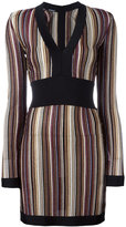 Balmain v-neck striped dress - women - Polyester/Cupro/Viscose - 36