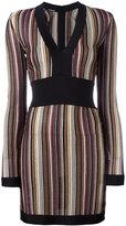 Balmain v-neck striped dress - women - Viscose/Cupro/Polyester - 36