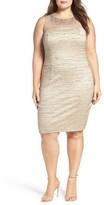 Eliza J Plus Size Women's Embellished Illusion Yoke Body-Con Dress