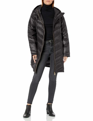 Calvin Klein Women's Hooded Chevron Quilted Packable Down Jacket (Regular and Plus Sizes)