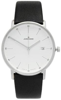 Junghans Form Quartz 39Mm Crystal Leather Strap Watch