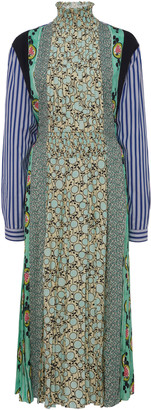 Prada Patchwork Smocked Crepe Midi Dress