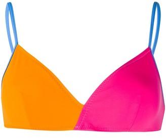 Solid & Striped Two-Tone Bikini Top