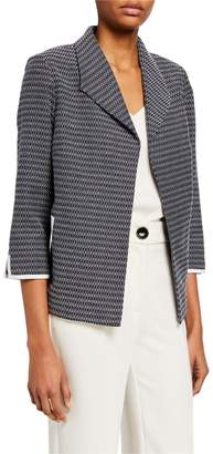 Ming Wang Open 3/4-Sleeve Trimmed Jacket