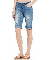 Celebrity Pink Destructed Vintage Woven Stretch Denim Rolled Cuff Bermuda Shorts