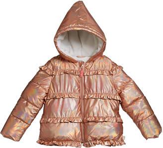 Billieblush Girl's Puffer Hooded Jacket w/ Ruffle Trim, Size 4-12