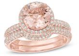 Zales Precious BrideTM 8.0mm Morganite and 5/8 CT. T.W. Diamond Frame Bridal Set in 14K Rose Gold