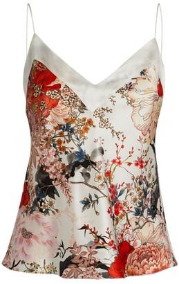 MENG Floral Silk Satin Top