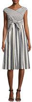 Lafayette 148 New York Cap-Sleeve Striped Tie-Waist Dress, Multi