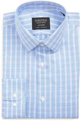 Nordstrom Traditional Fit Non-Iron Plaid Stretch Dress Shirt