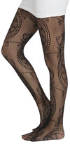 Wet Seal WetSeal Floral Leaf Openwork Tights Black