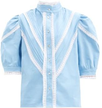ÀCHEVAL PAMPA Yegua Lace-trimmed Cotton-poplin Blouse - Light Blue