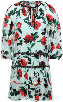Alice + Olivia Arnette Lace-trimmed Floral-print Fil Coupe Chiffon Mini Dress