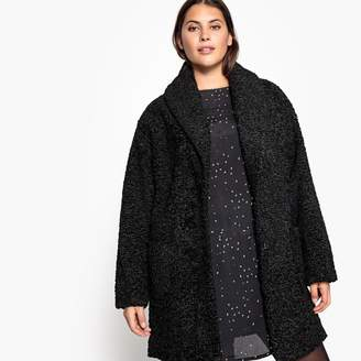 Castaluna Plus Size Faux Fur Mid-Length Coat with Buttons and Pockets