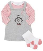 Character Little Miss Princess Long Sleeve Bodysuit, Pinafore Dress and Tights Set, Newborn Girl's