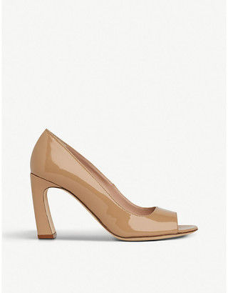 LK Bennett Harper patent-leather peep-toe courts