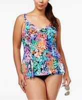 Swim Solutions Plus Size Dream Garden Floral-Print Overlay Tummy-Control One-Piece Swimsuit Women's Swimsuit