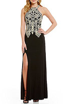 Sequin Hearts High-Neck Embroidered Bodice Long Dress
