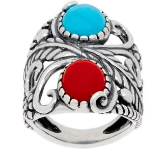 American West Red Coral & Turquoise Leaf and Flower Ring