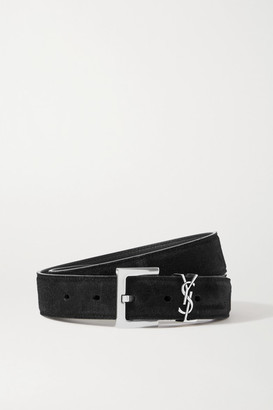 Saint Laurent Monogramme Suede Belt - Black
