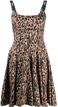 Versace Jeans Couture Flared Leopard Print Mini Dress