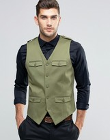 Asos Skinny Waistcoat In Cotton With Military Styling In Khaki