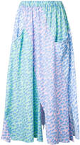 Julien David wave print pleated skirt