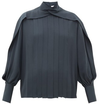 The Row Gilia Pleated Silk-georgette Blouse - Dark Grey