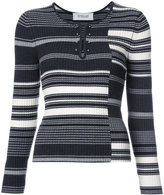 Derek Lam 10 Crosby striped rib knit sweater - women - Merino - XS